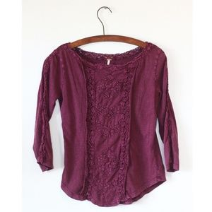 Free People Plum Boho Top S